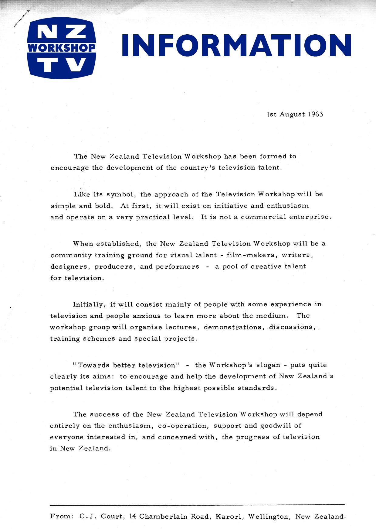 August 1 1963 New Zealand Television Workshop Information Release